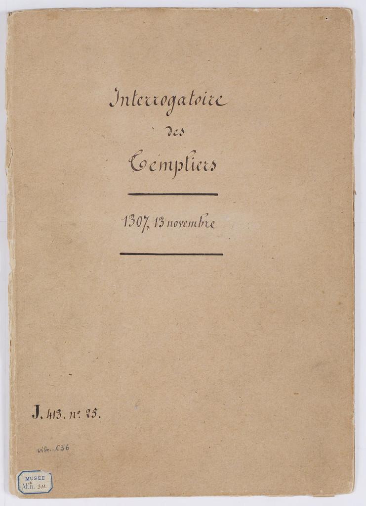 Cahier du procès-verbal des interrogatoires des Templiers de Carcassonne. Couverture