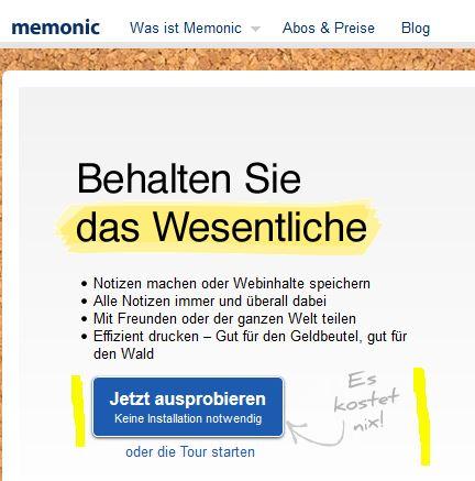 """Auf dem Button von memonic.de steht """"Jetzt ausprobieren. Keine Installation notwendig."""" Daneben handschriftlich """"Es kostet nix!"""""""