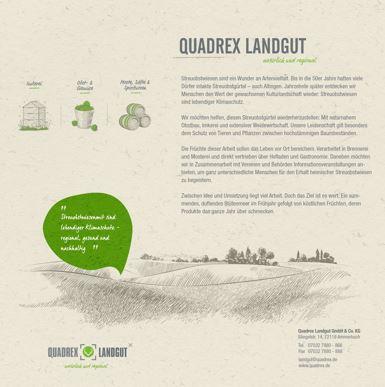 """Flyer mit Infos zum Quadrex Landgut und grüner Sprechblase """"Streuobstwiesen sind lebendiger Klimaschutz – regional, gesund und nachhaltig."""""""