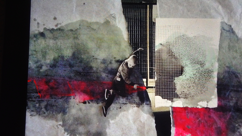 LE GRAND SAUT (zoom) (collage, peinture, couture, broderie)