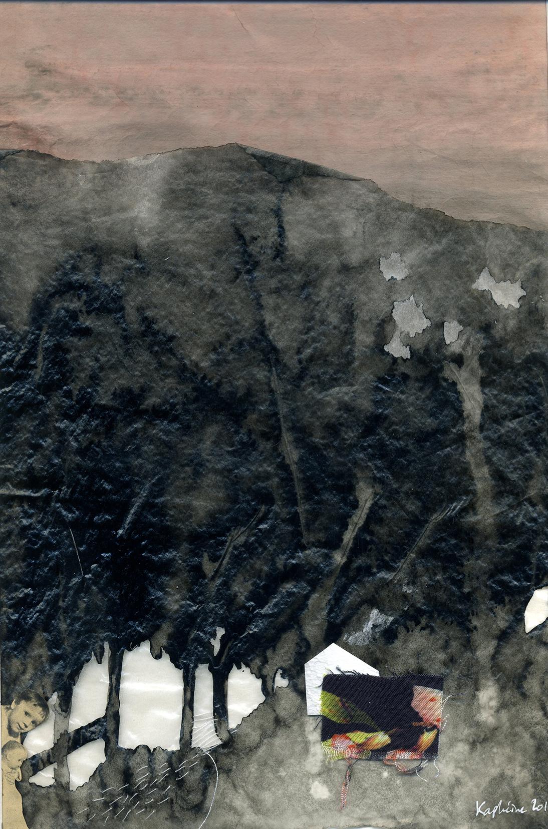 PROMENONS-NOUS DANS LES BOIS (collage, technique mixte)