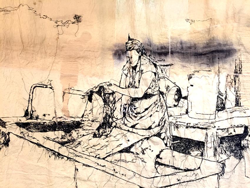 MADELEINE, LA PETITE LAVANDIERE (Drap de lin peint et brodé main)