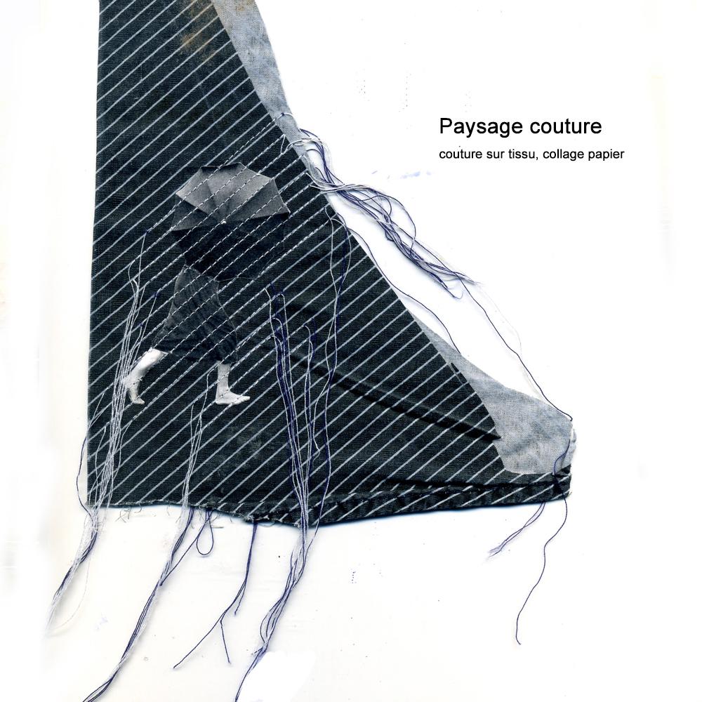 PIEDS NUS SOUS LA PLUIE (collage couture)