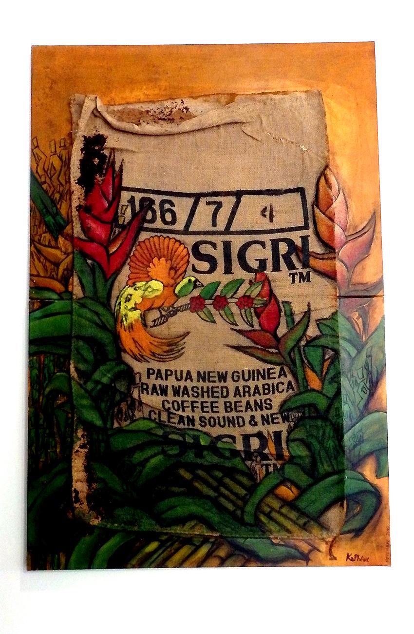 Birds of a lost paradise (acrylique sur toile de jute, café, sciure de bois)