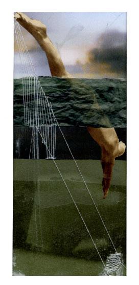 LE PLONGEON (collage, peinture, couture, broderie)