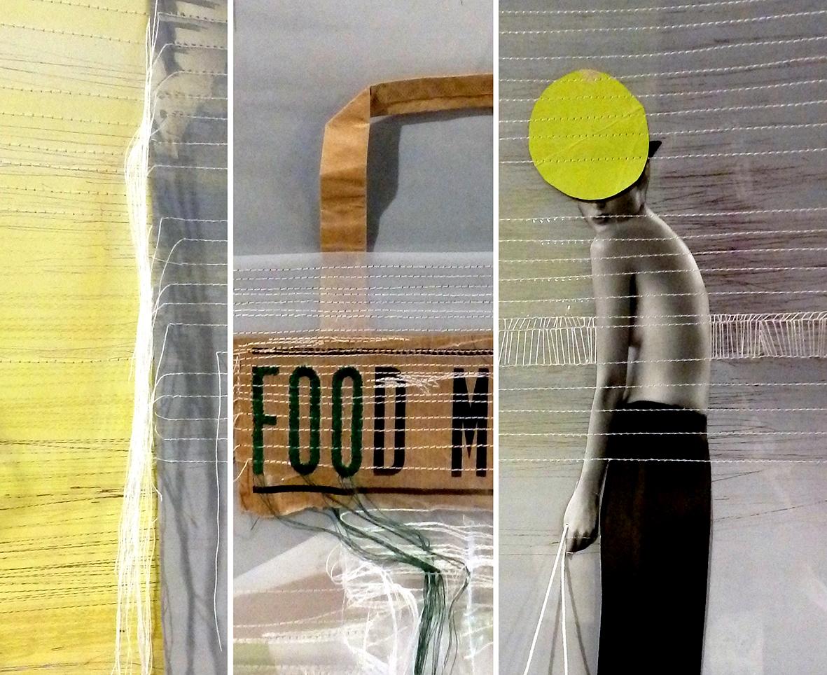 MARCHÉ À NU (technique mixte), photo collage)