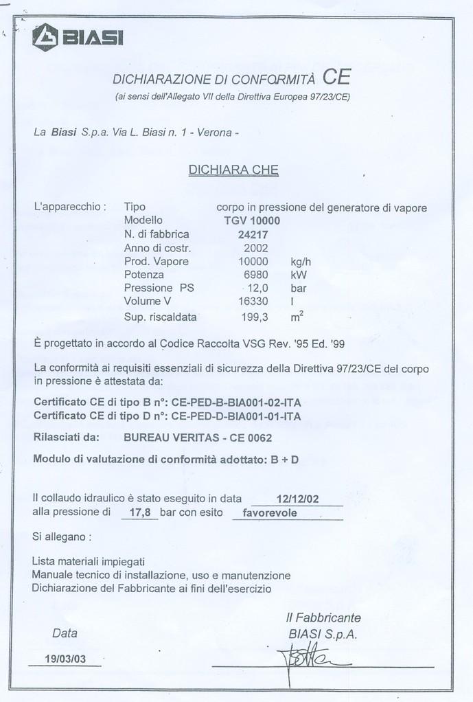 Dichiarazione di conformita' CE gen 2