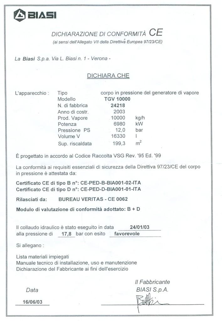 Dichiarazione di conformita' CE gen 1