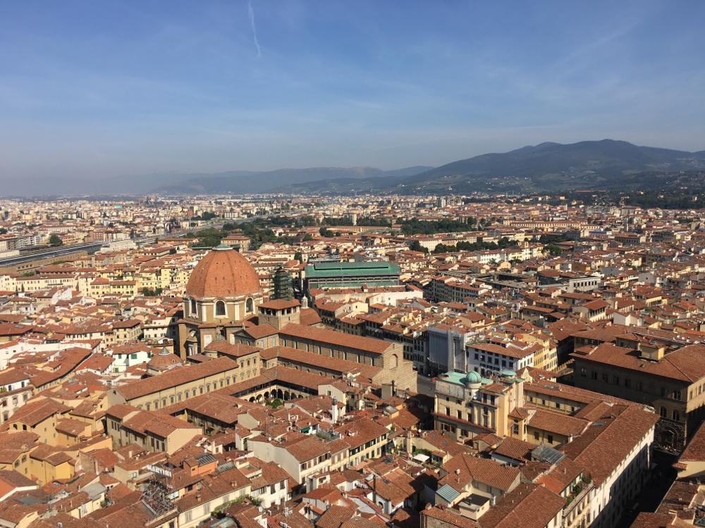 Die Halle mit dem grünen Dach ist die Markthalle von Florenz