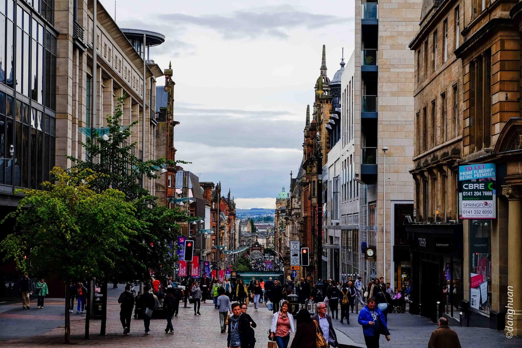 Glasgow - Hope street l'artère commerçante principale