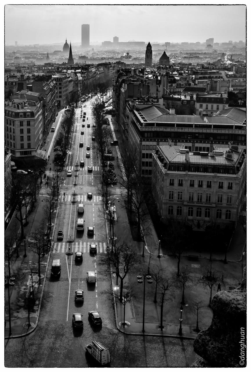 Sud de Paris vu depuis le sommet de l'Arc de Triomphe