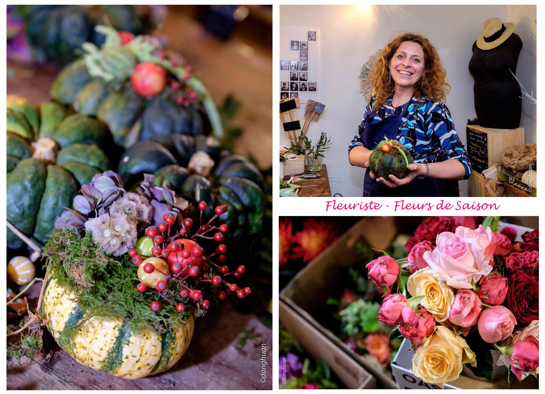 La fleuriste  Mathilde VIAL (On the Sunny Side) utilise les fleurs et légumes de saison pour réaliser ses compositions florales