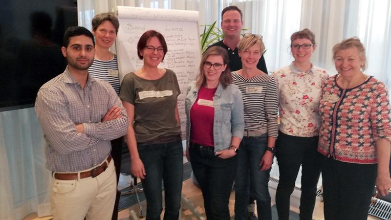 Trafen sich in Leipzig: (v.l.) Seyed Mortazavi, Petra Kühnast, Swanhild Priestley, Denise Dallendörfer, Sven Haubert, Daniela Hoffmann-Kruse, Katrin Mende und Beatrix Watzl.