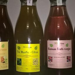 Boissons artisanales désaltérantes sans conservateurs, avec ou sans théine, avec fructose ou stévia
