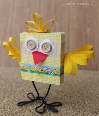Bricolage oiseau en bois et masking tape. www.toutpetitrien.ch/bricos/ - fleurysylvie