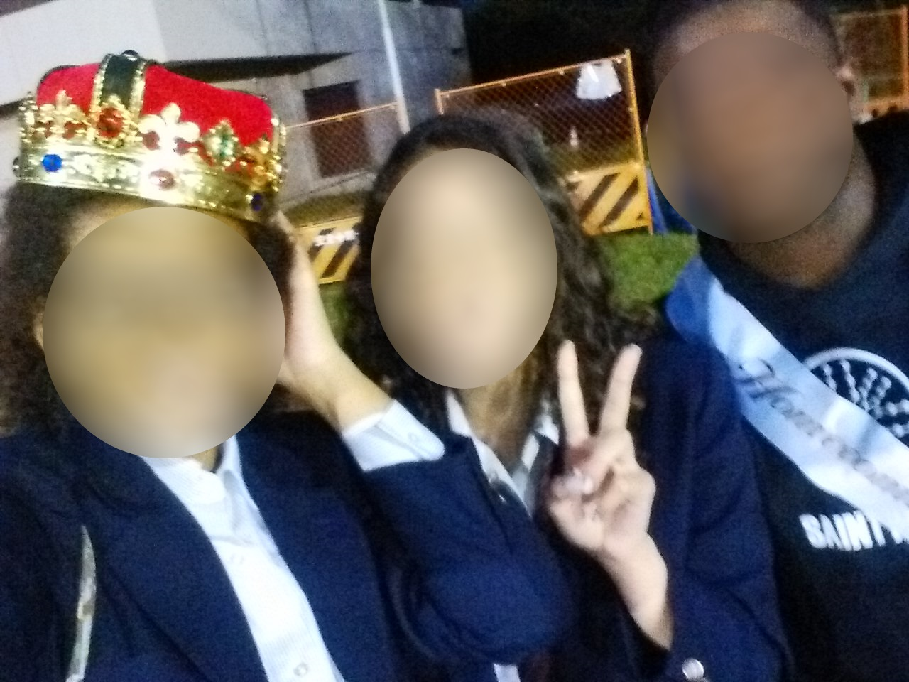 (left to right:) Me with the Homecoming King's crown, Italian girl and the King