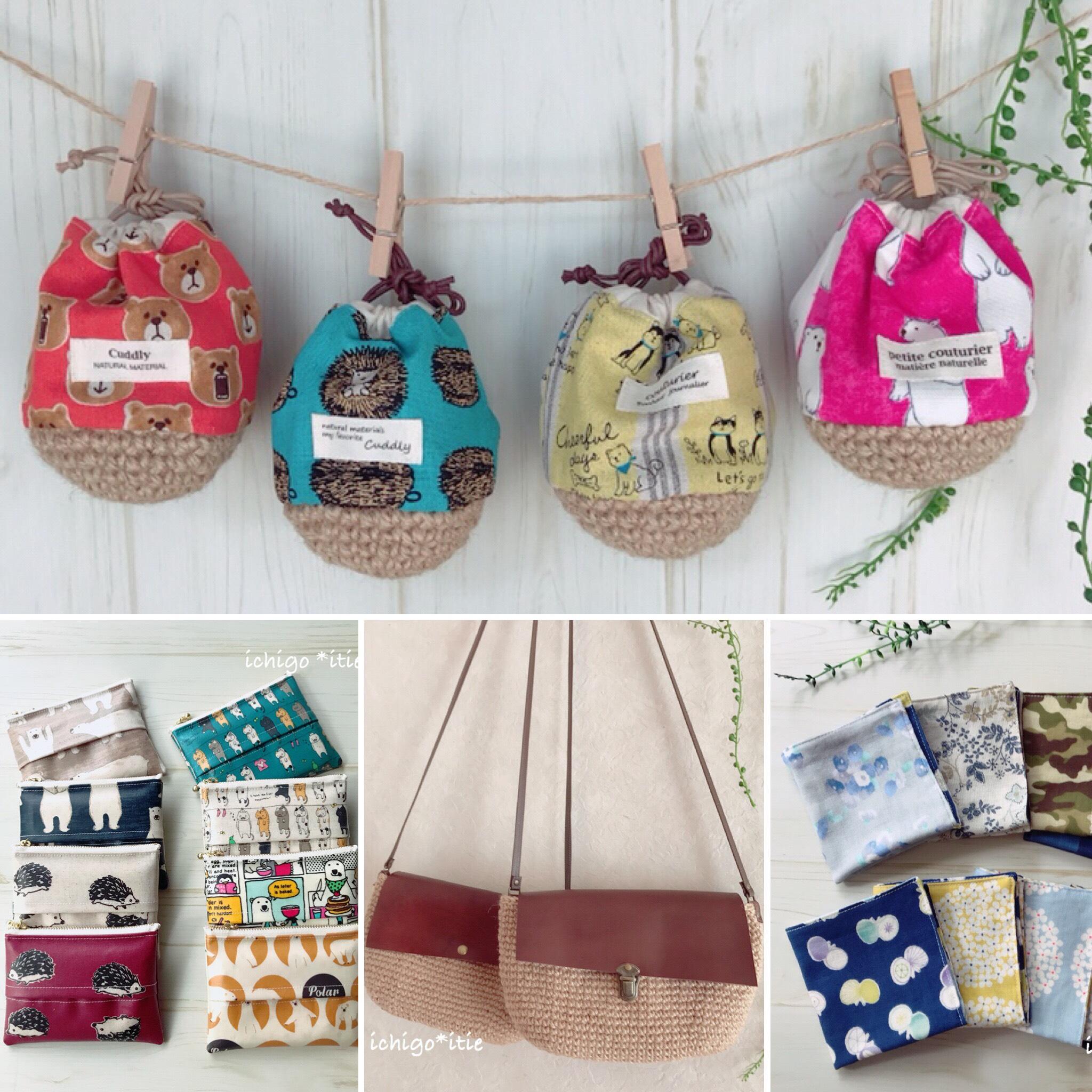 ハンドメイドの布小物、編み物