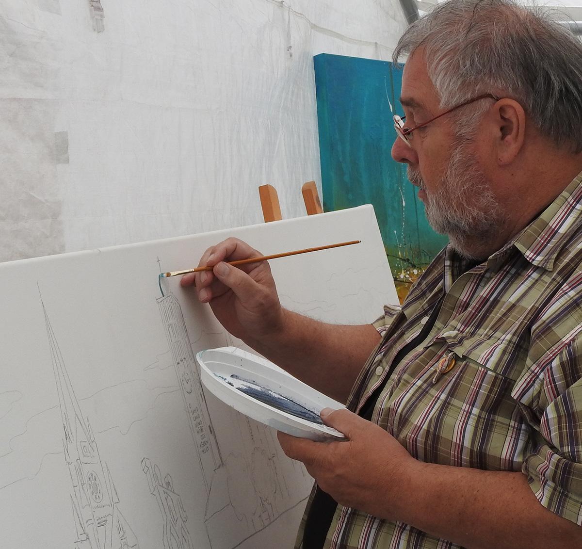Kunstmaler und sein unvollendetes Werk.