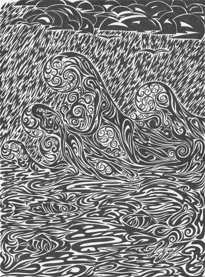 """Рисунок """"Вода"""" выполнен чернилами. Серия """"Стихии""""."""