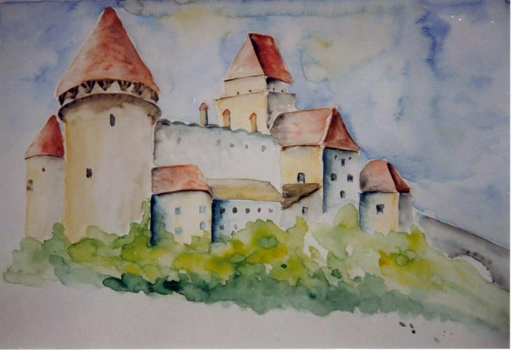 Burg Heidenreichstein   Aquarell 40 x 50
