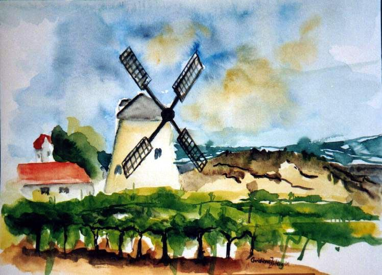 Windmühle Retz   Aquarell 30 x 40
