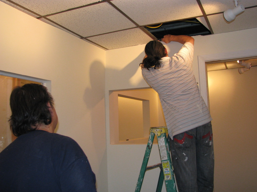 Working on the drop cieling