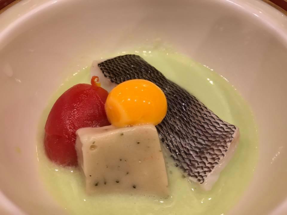 ウメイロ炊き合わせ・空豆ソース