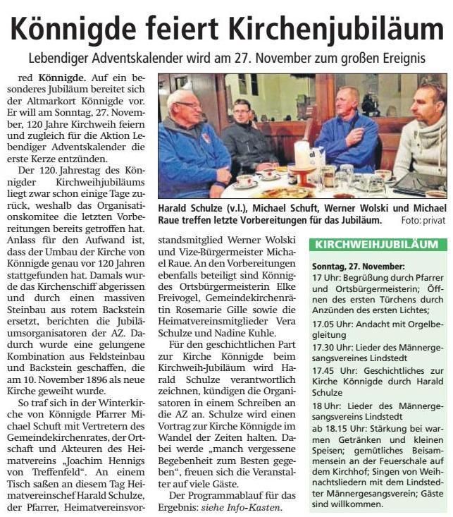 Altmark-Zeitung vom 15.11.2016, von Maik Bock
