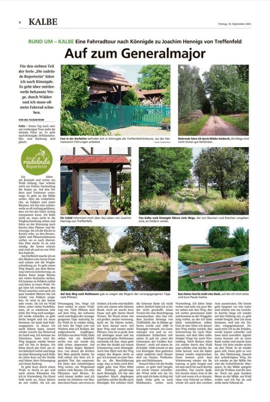 Altmark-Zeitung vom 10.09.2021, von Ina Tschakyrow