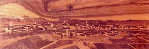 Städtebild Basel, nach Merian, für damals Bankverein, heute UBS