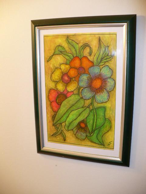 Blumen. Same Picture Motive, on Color. Das gleiche Blumen Bild, in Farbe. Mesma Pintura com Flores, em côres. Foto by RDS
