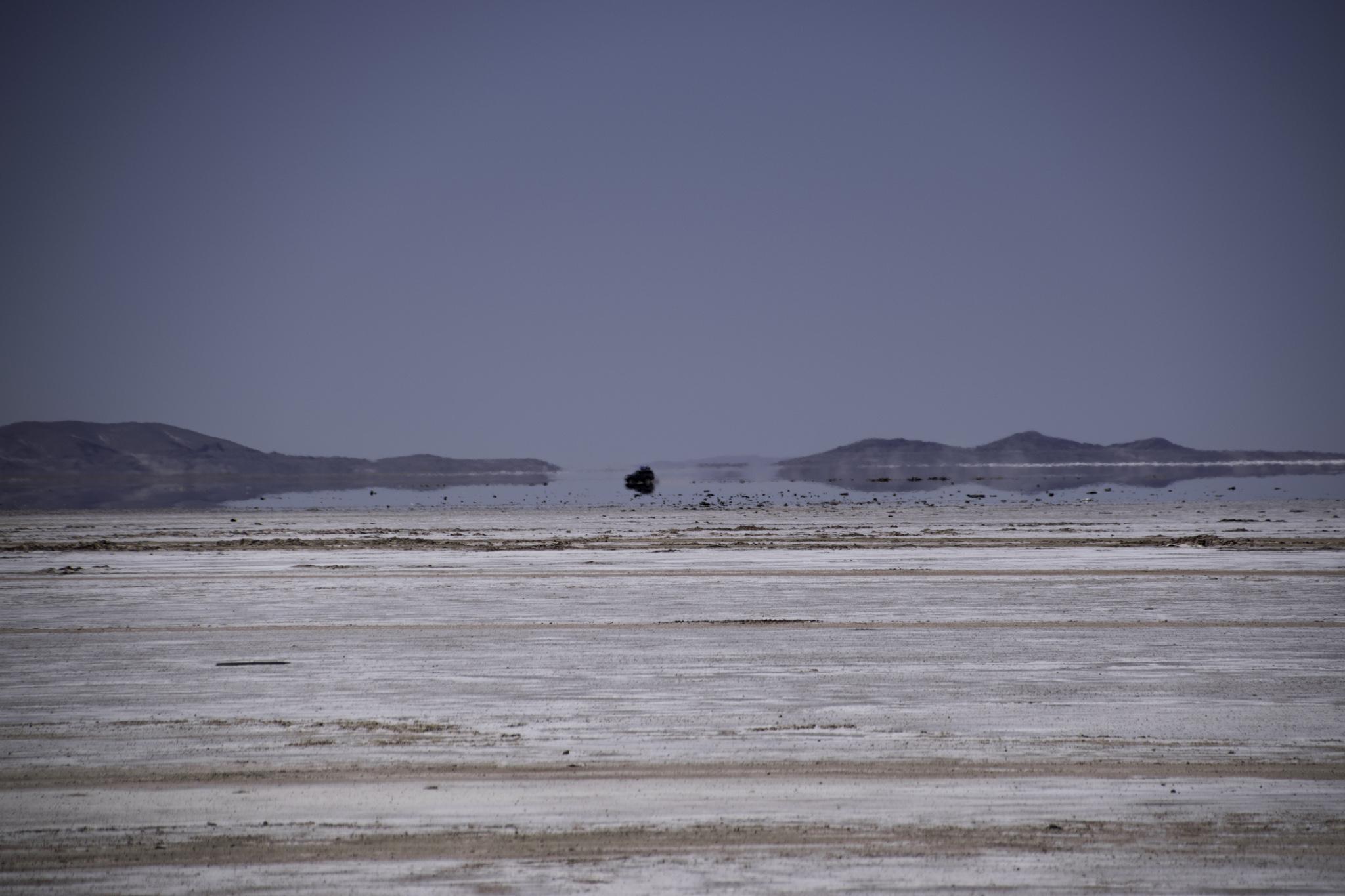 Fata Morgana beim Eingang in die Salzwüste von Uyuni
