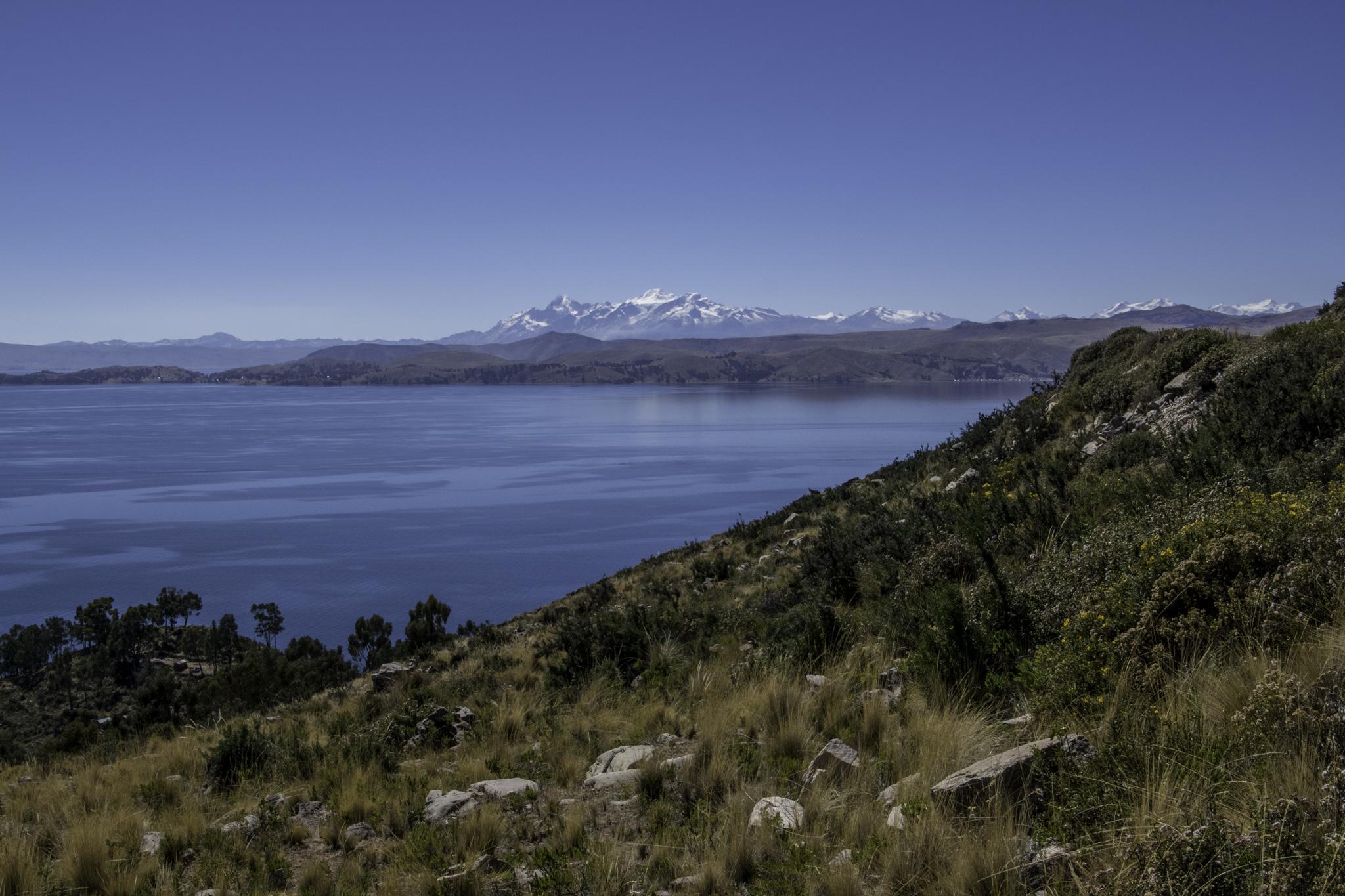 Einer der bisher schönsten Streckenabschnitte mit Aussicht auf den Lago Titicaca und die beschneite Cordillera Real