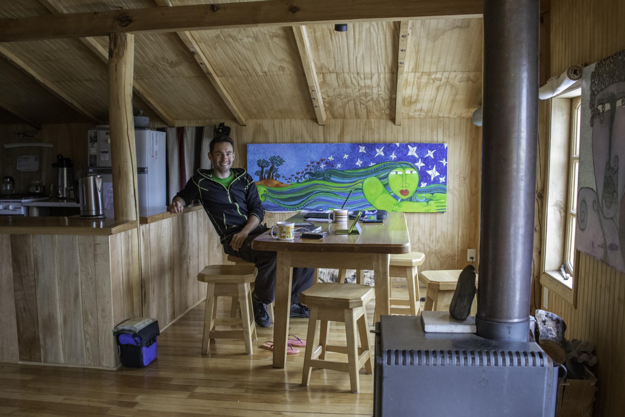 """Arbeiten am Blog-Update in der gemütlichen Herberge """"El Mosco"""" in Villa O'Higgins"""