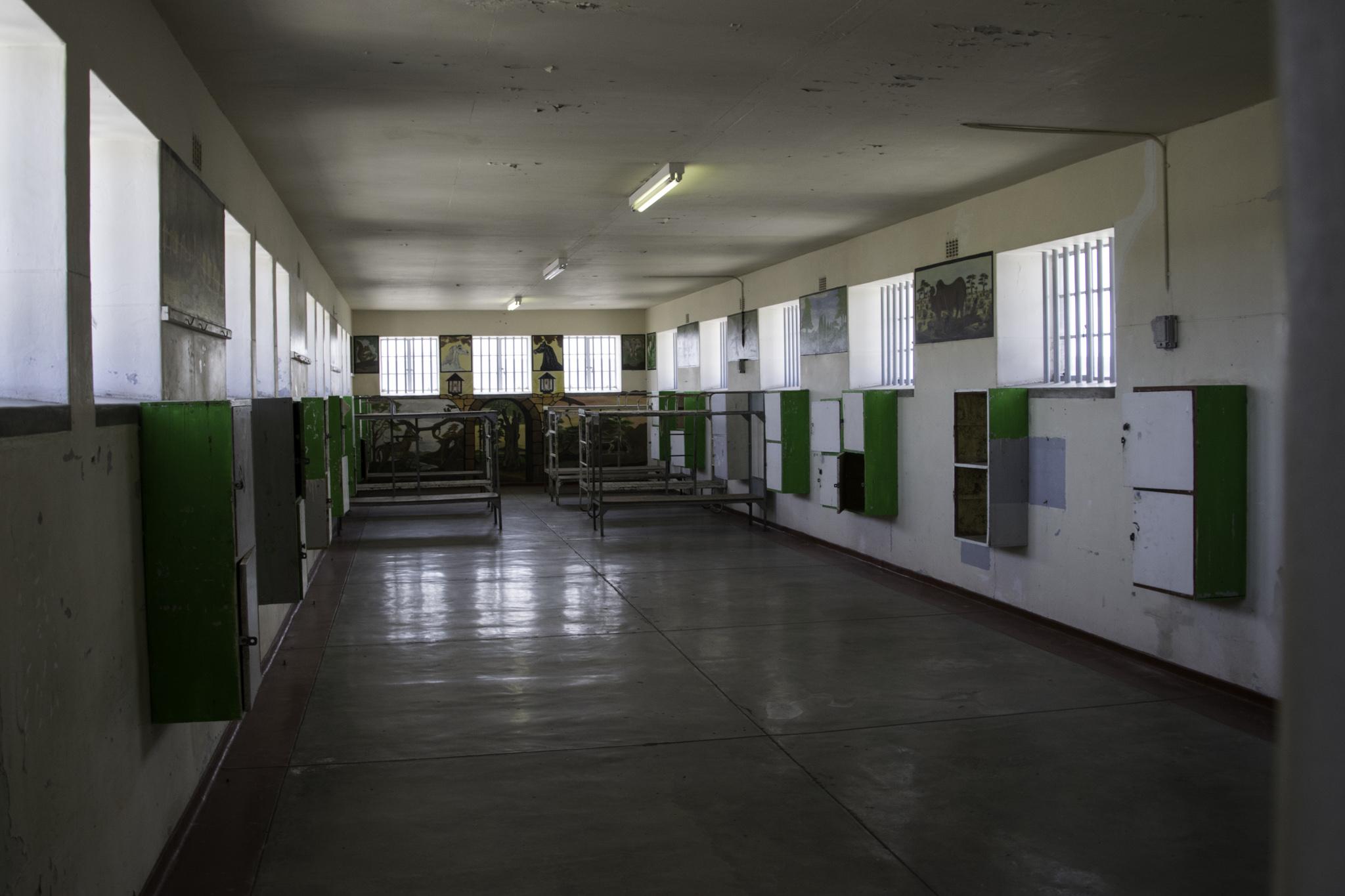 Eine Gemeinschaftszelle auf Robben Island - Nelson Mandela war jedoch in Einzelhaft
