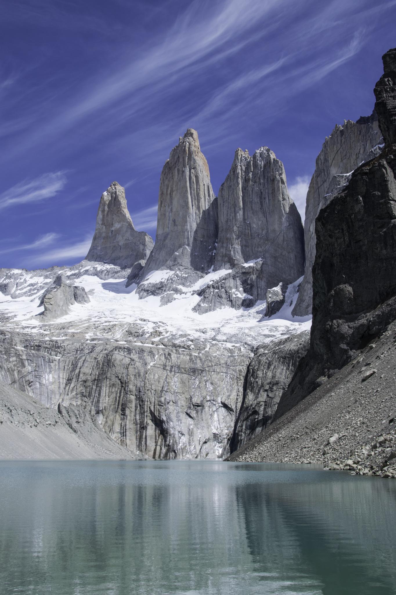 Die Torres del Paine zeigen sich im schönsten Sommerwetter