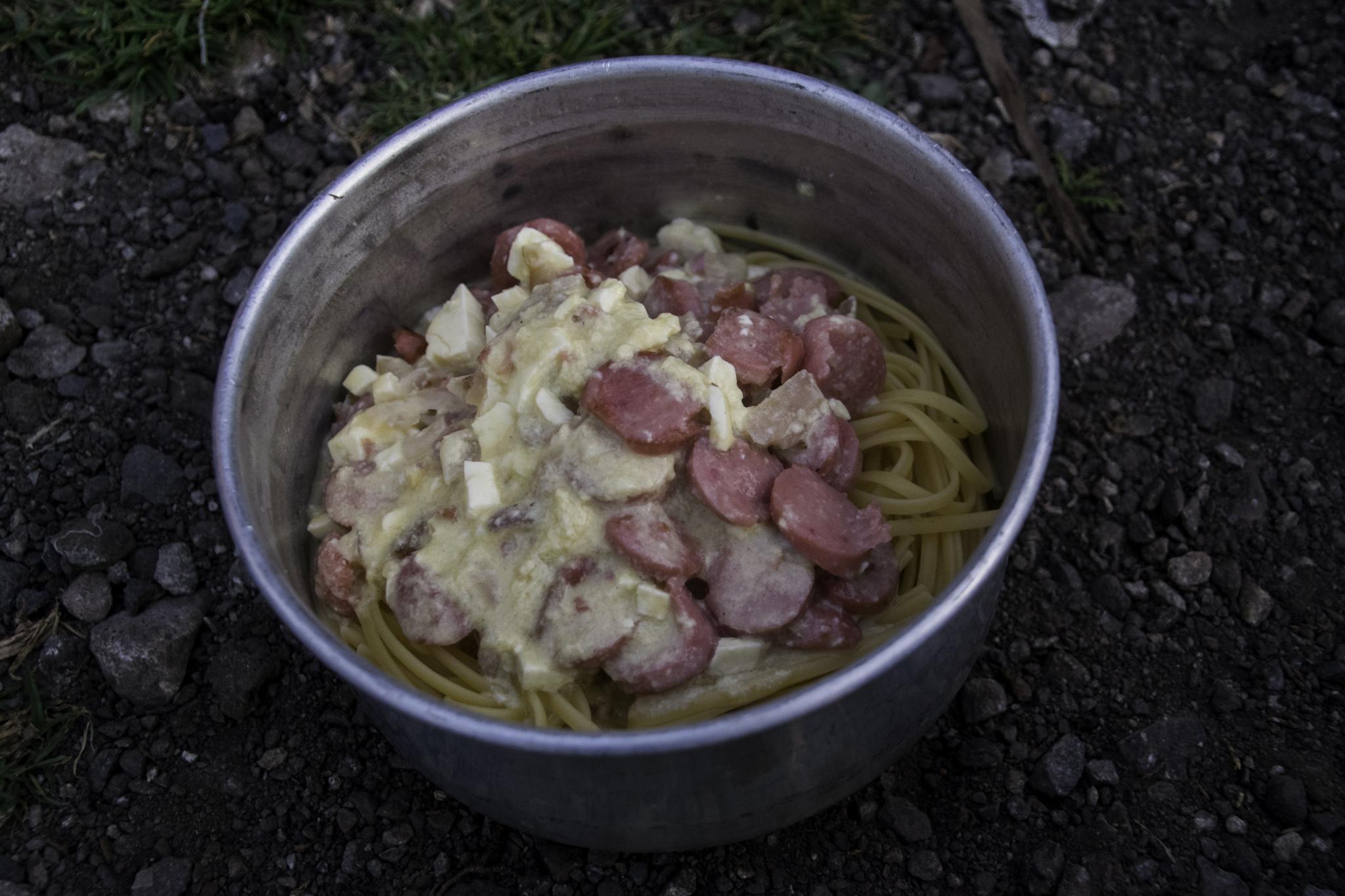 Spaghetti Carbonara mit Lyoner - Speck oder Schinken waren nicht zu finden