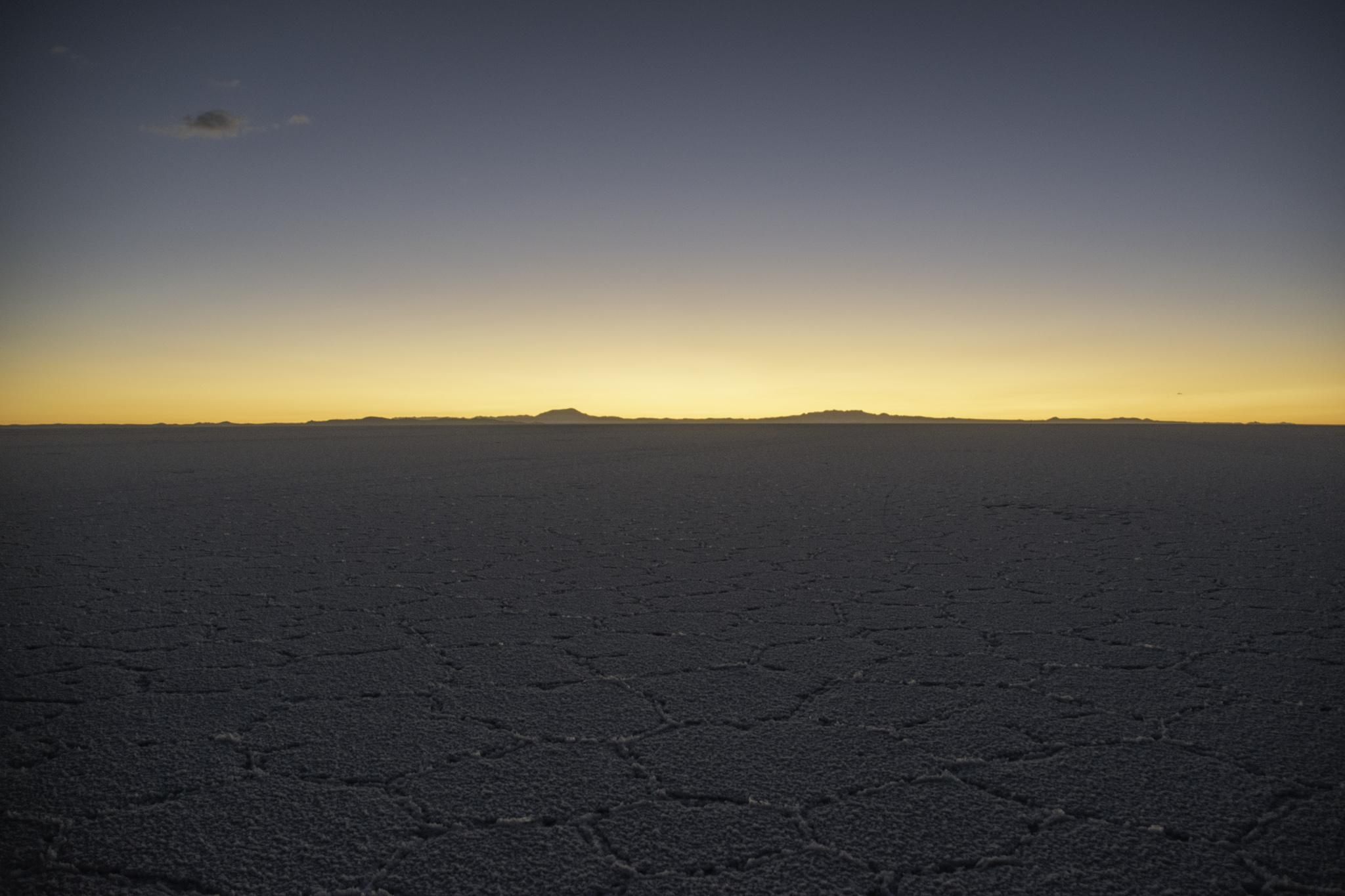 Sonnenuntergang in der Salzwüste