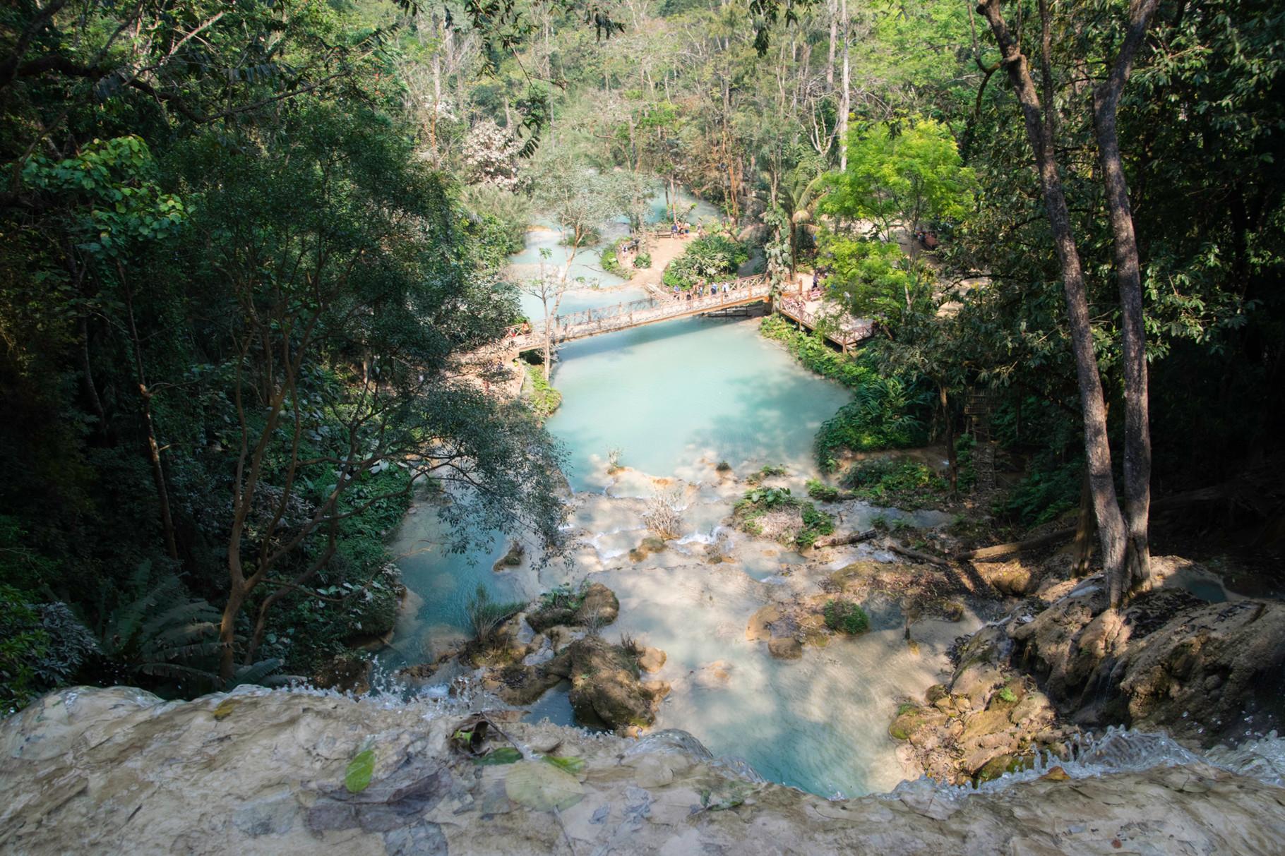 Blick vom Wasserfall über die Kaskaden