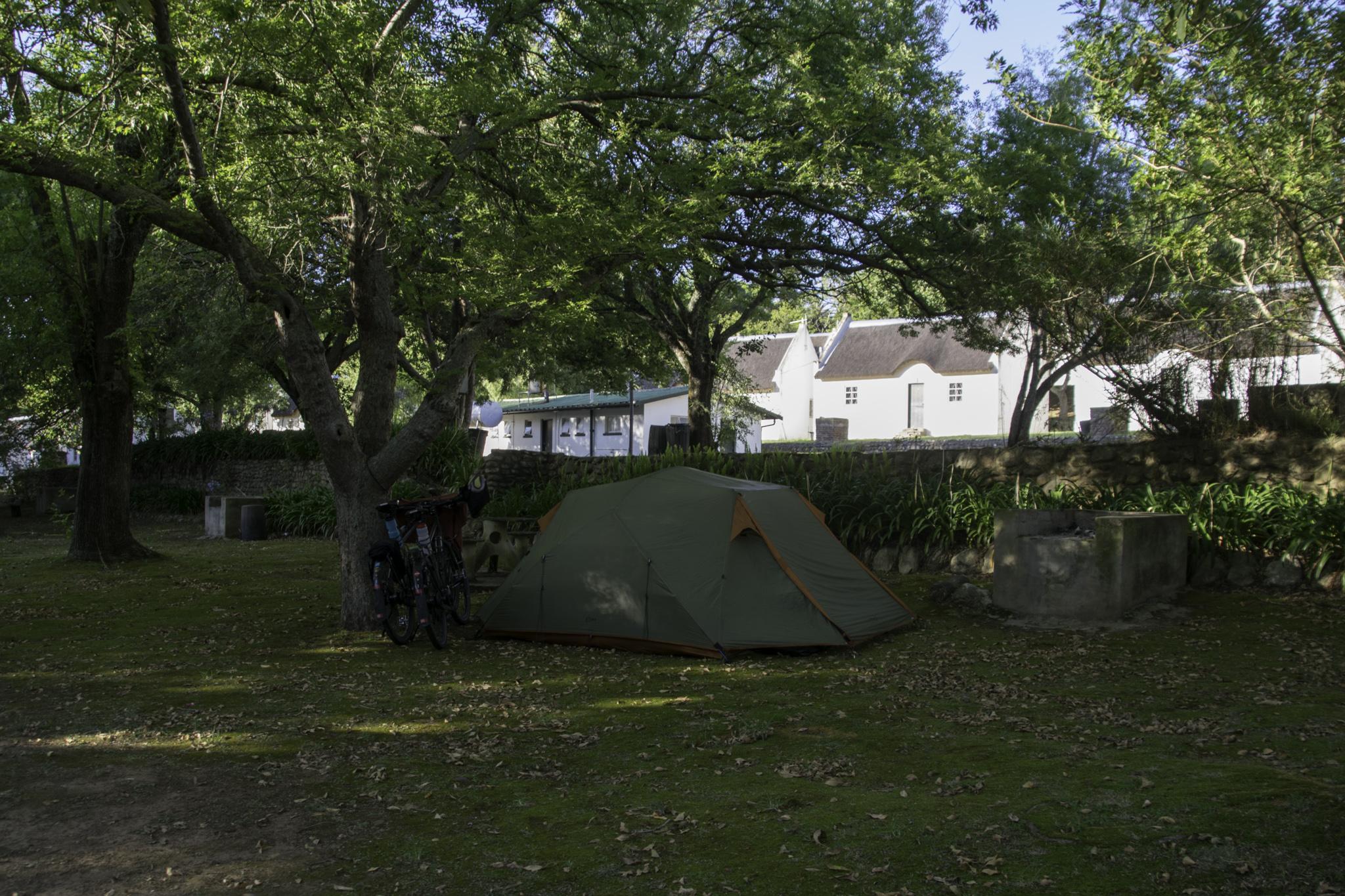 Das letzte Mal zelten auf dem Campingplatz von Swellendam