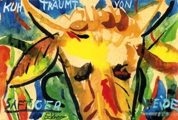 Kuh träumt von saftiger Weide