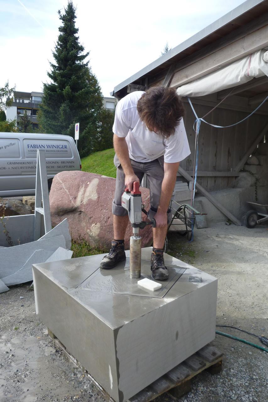 Fertigungsschritte Brunnen für EXPO Stäfa