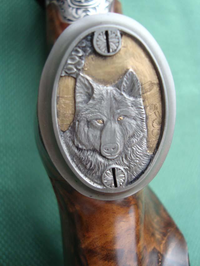 Pistolengriffkäppchen von Sommer-Exklusiv - Wolf - Gold - Gravur - veredelt by Sommer Exklusiv - Blaser