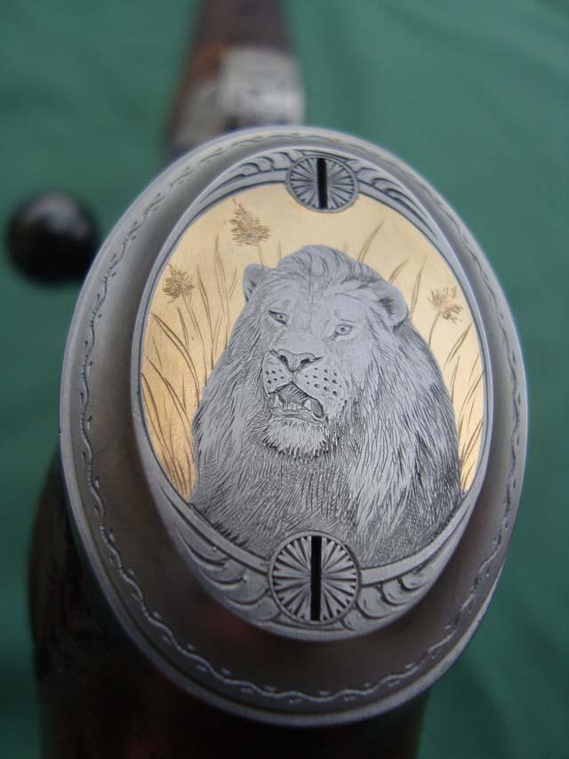 Pistolengriffkäppchen von Sommer-Exklusiv - Löwe - Gold - Gravur - veredelt by Sommer Exklusiv - Blaser