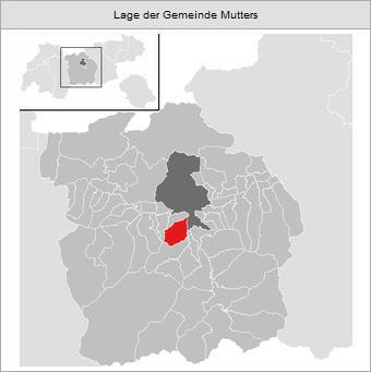 Dunkel Grau: Stadtgebiet Innsbruck / Hell Grau: Bezirk Innsbruck-Land / Rot: Gemeindegebiet von Mutters