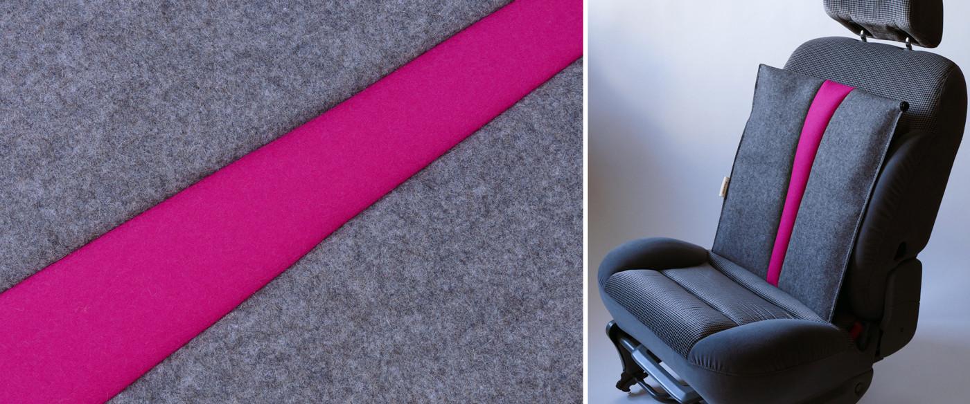 Autositzauflage für den Rücken #grau/pink