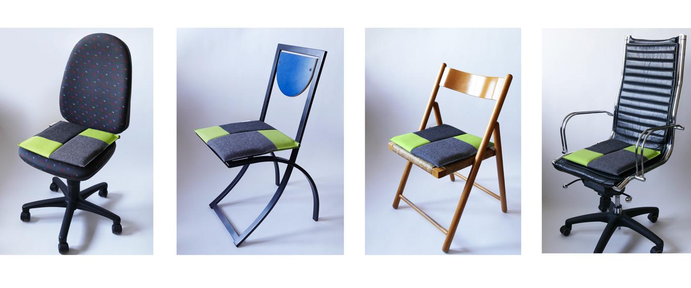 Ergonomisches Sitzkissen in grau/grün bringt Flow Motion auf unterschiedlichste Stühle