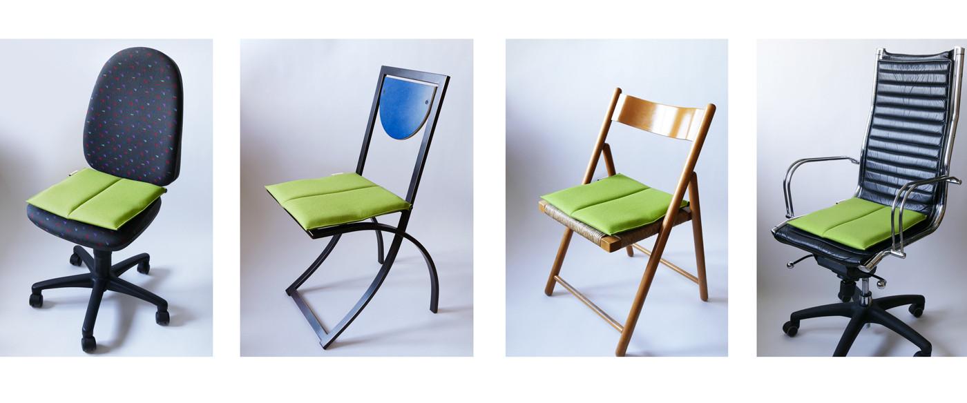 Ergonomisches Sitzkissen in limenttengrün bringt Flow Motion auf unterschiedlichste Stühle