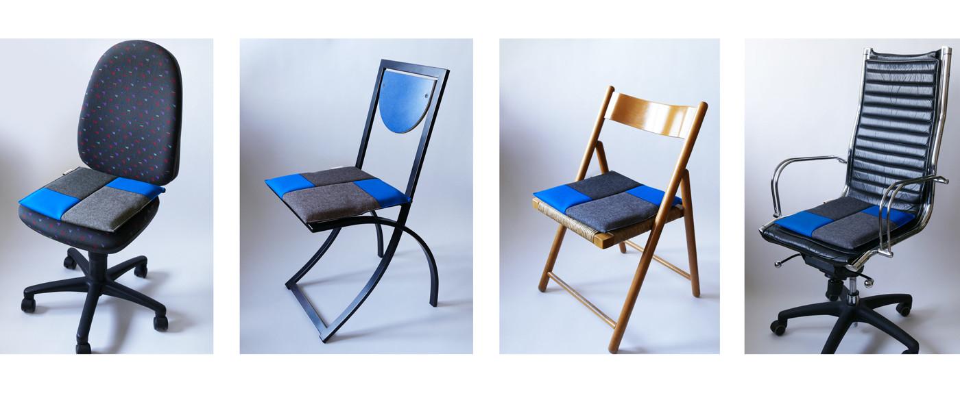 Ergonomisches Sitzkissen in grau/blau bringt Flow Motion auf unterschiedlichste Stühle