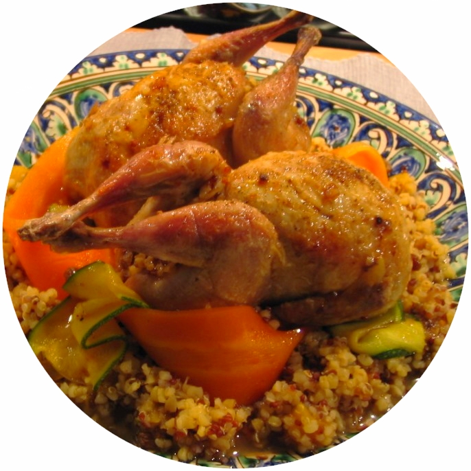 Quinoa stuffed quails